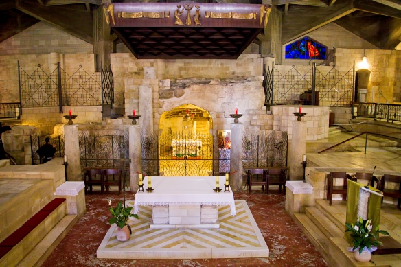 In the Church of the Annunciation, Nazareth, Israel - the traditional spot where Mary received the visiting angel, Gabriel, announcing the coming Messiah